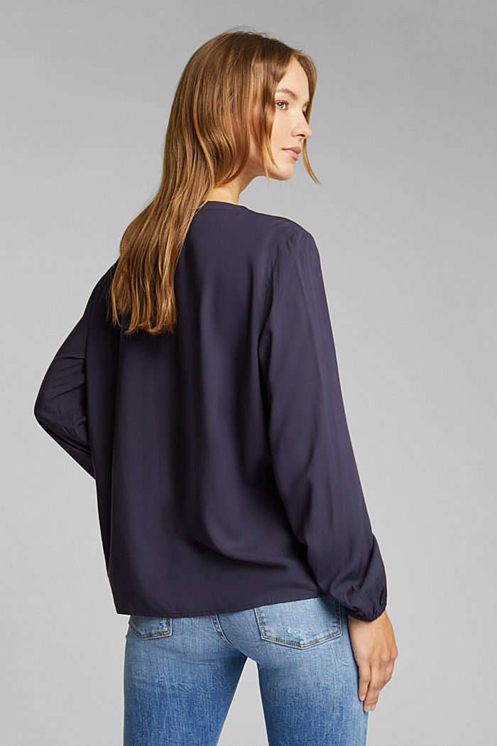 Blouse made of 100% LENZING™ ECOVERO™, NAVY, detail image number 3