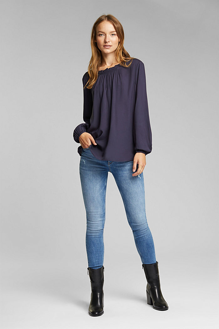 Blouse made of 100% LENZING™ ECOVERO™, NAVY, detail image number 1