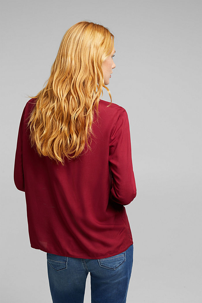 Blouse made of 100% LENZING™ ECOVERO™, BORDEAUX RED, detail image number 3