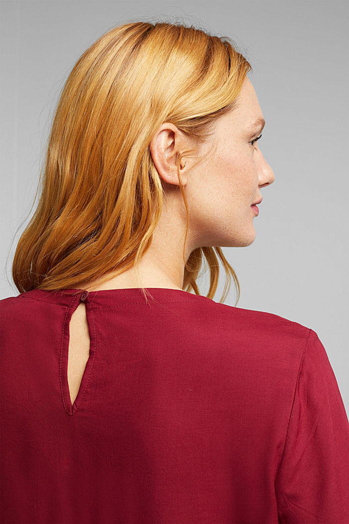Blouse made of 100% LENZING™ ECOVERO™, BORDEAUX RED, detail image number 2
