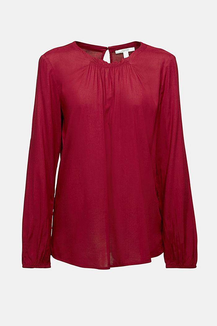 Blouse made of 100% LENZING™ ECOVERO™, BORDEAUX RED, detail image number 6