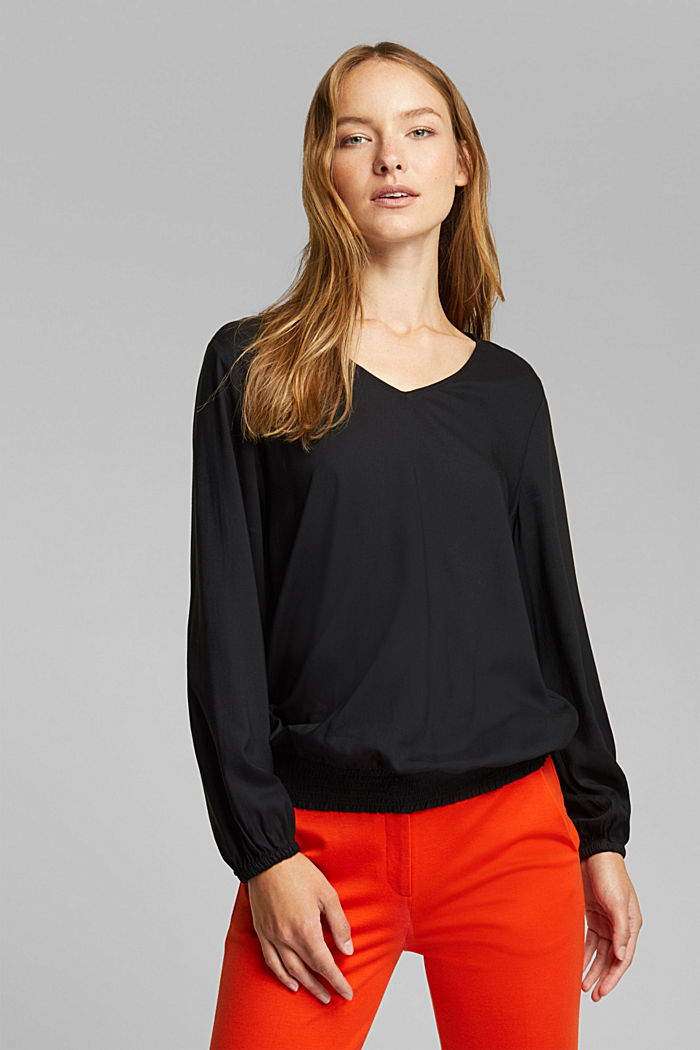 Blouse made of 100% LENZING™ ECOVERO™, BLACK, detail image number 0