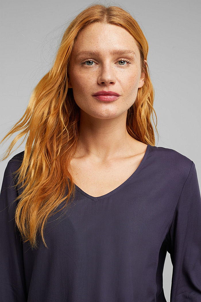 Blouse made of 100% LENZING™ ECOVERO™, NAVY, detail image number 5