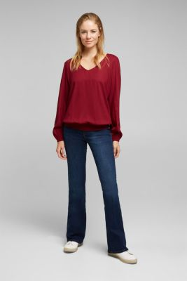 Blouse made of 100% LENZING™ ECOVERO™, BORDEAUX RED, detail