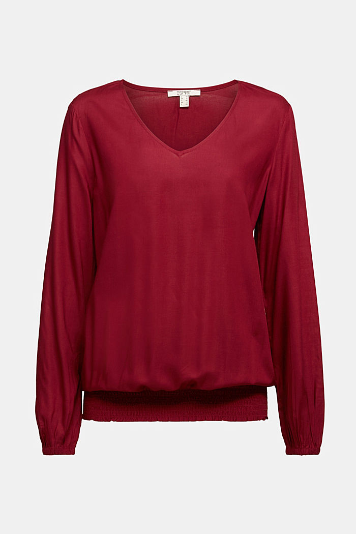 Blouse made of 100% LENZING™ ECOVERO™, BORDEAUX RED, detail image number 5
