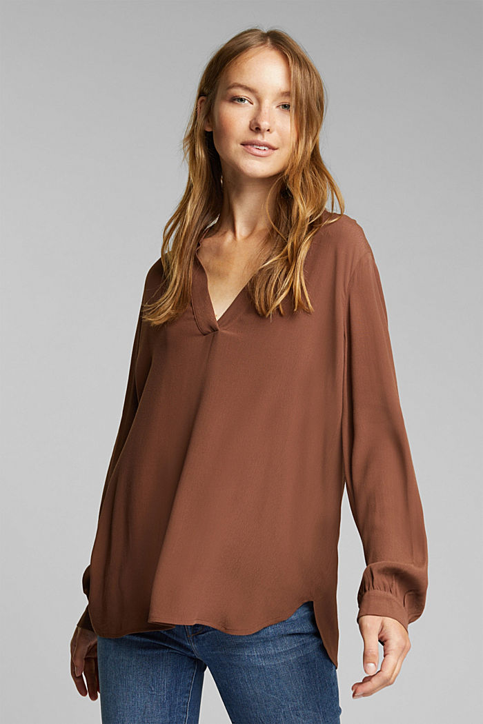 Blouse made from LENZING™ ECOVERO™, BROWN, detail image number 0