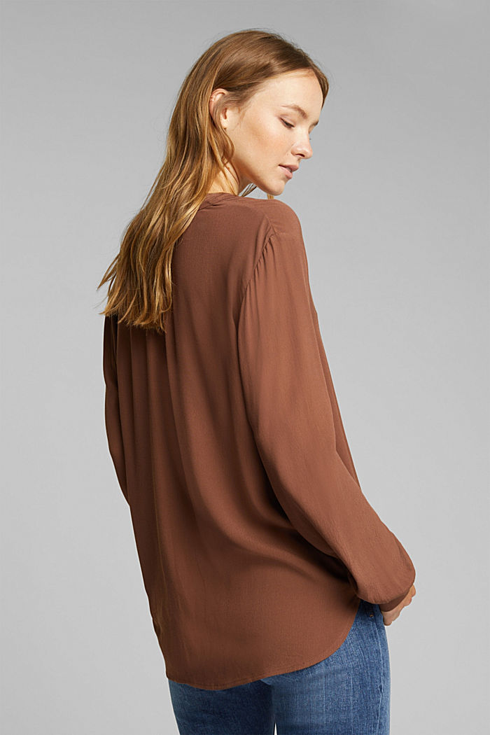 Blouse made from LENZING™ ECOVERO™, BROWN, detail image number 3