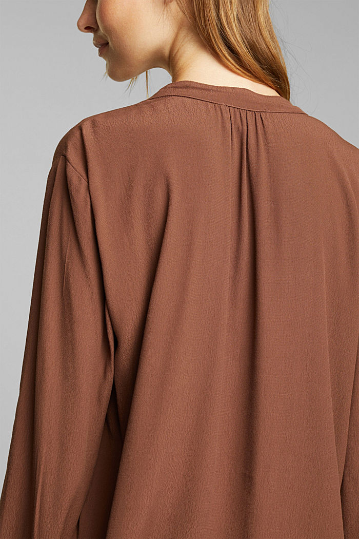 Blouse made from LENZING™ ECOVERO™, BROWN, detail image number 5