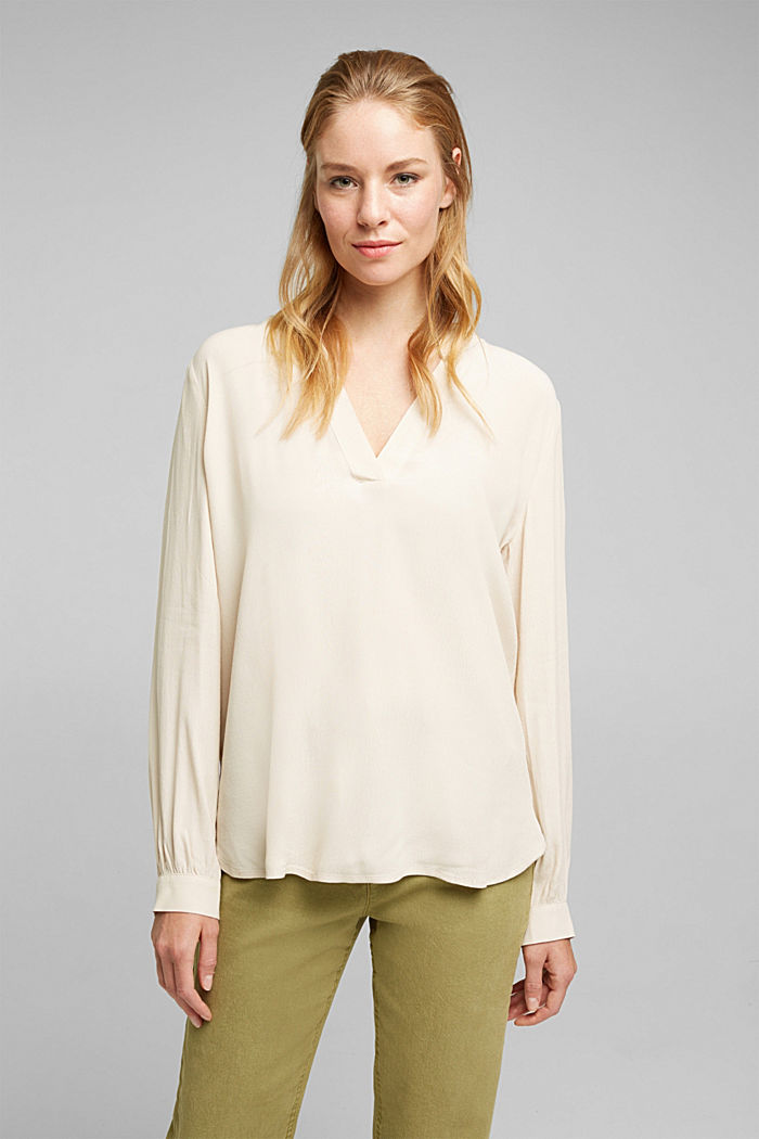 Blouse made from LENZING™ ECOVERO™, CREAM BEIGE, detail image number 0