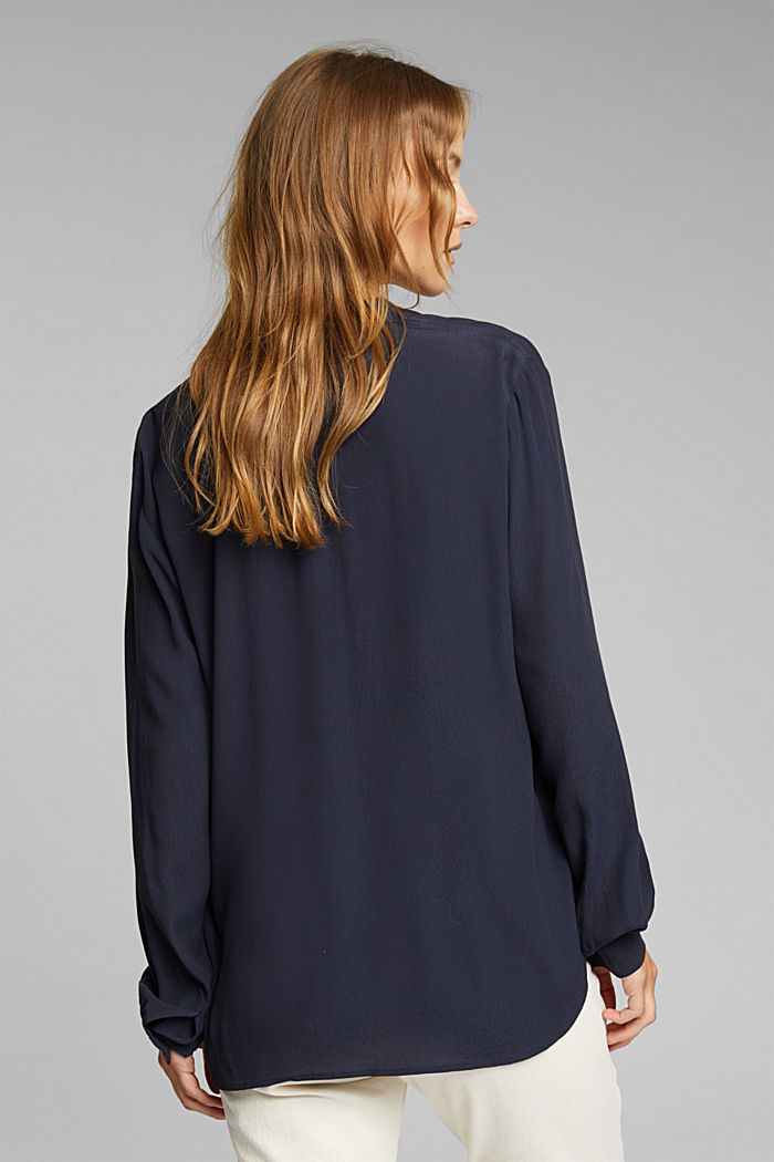 Blouse made from LENZING™ ECOVERO™, NAVY, detail image number 3