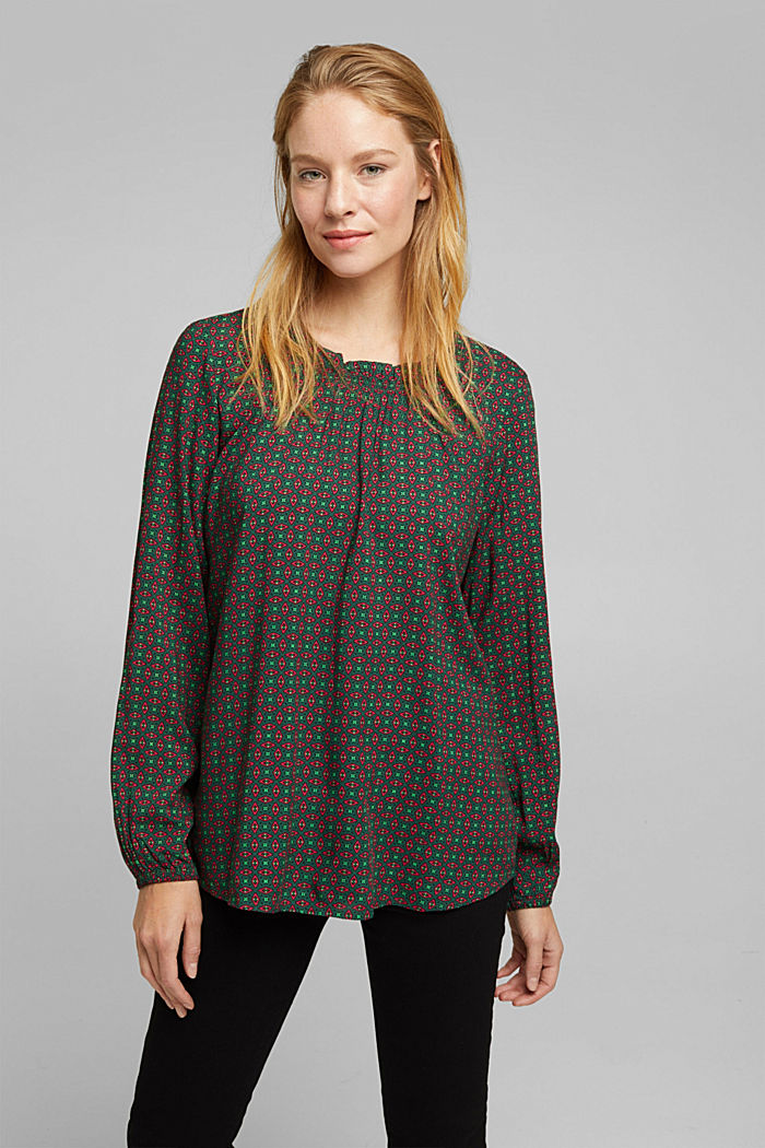 Blouse made of 100% LENZING™ ECOVERO™, DARK GREEN, detail image number 0
