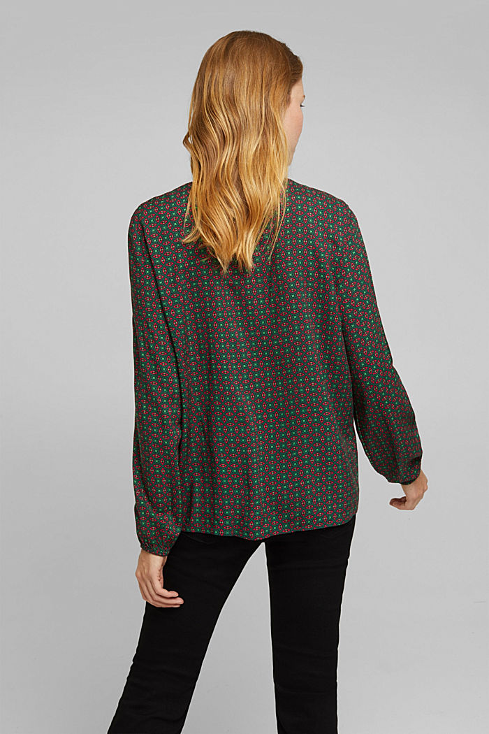Blouse made of 100% LENZING™ ECOVERO™, DARK GREEN, detail image number 3