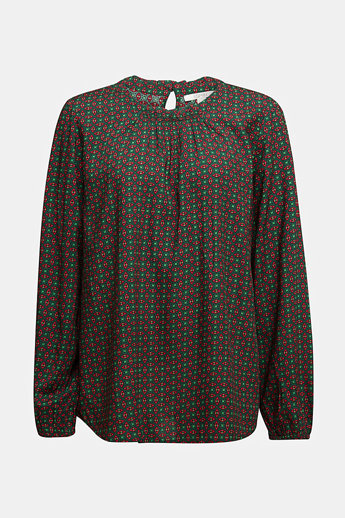 Blouse made of 100% LENZING™ ECOVERO™, DARK GREEN, detail image number 6