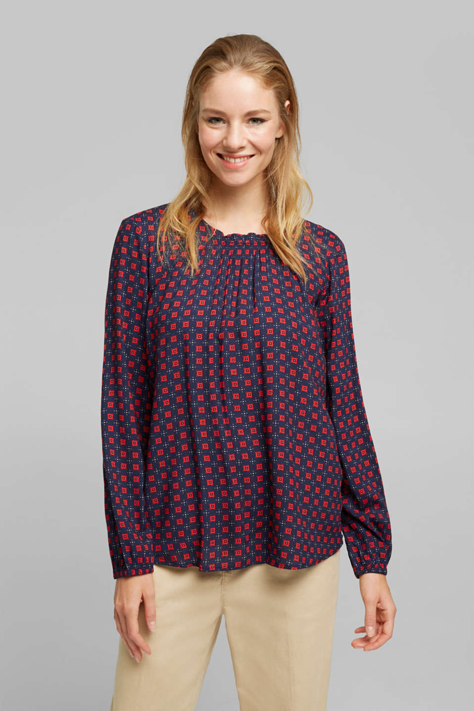 Esprit - Blouse made of 100% LENZING™ ECOVERO™
