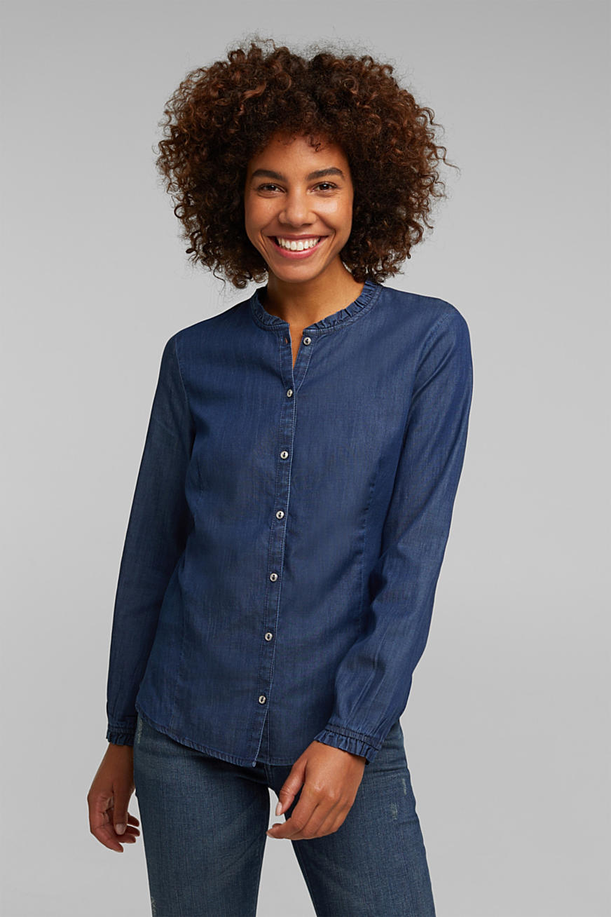 Chambray-bluse af lyocell