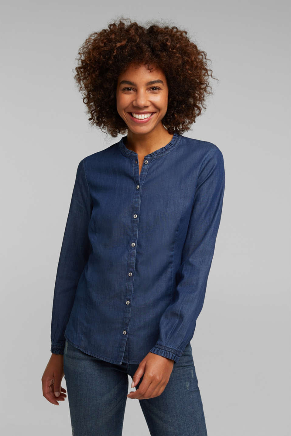 Esprit - Chambray blouse made of lyocell