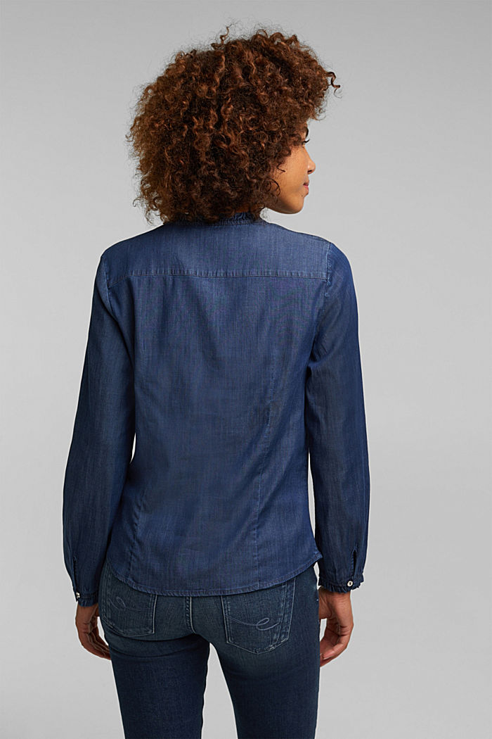 Chambray blouse made of lyocell, BLUE MEDIUM WASHED, detail image number 3