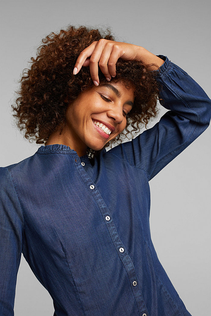 Chambray blouse made of lyocell, BLUE MEDIUM WASHED, detail image number 5