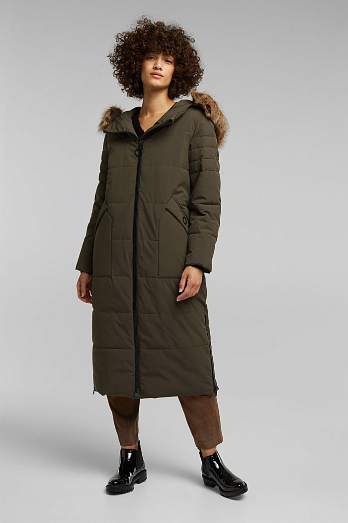 Recycled: padded quilted coat, DARK KHAKI, overview
