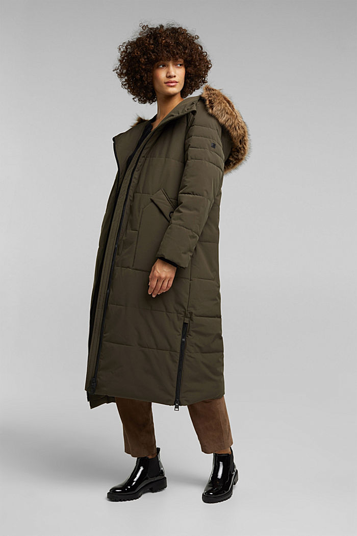 Recycled: padded quilted coat, DARK KHAKI, detail image number 5