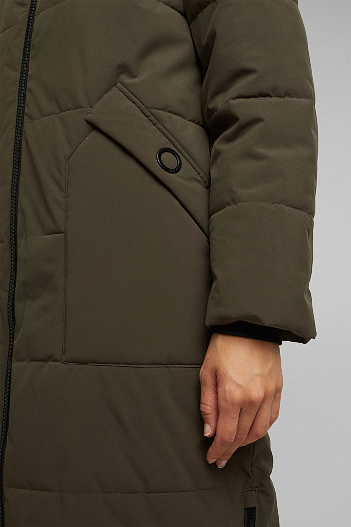 Recycled: padded quilted coat, DARK KHAKI, detail image number 2