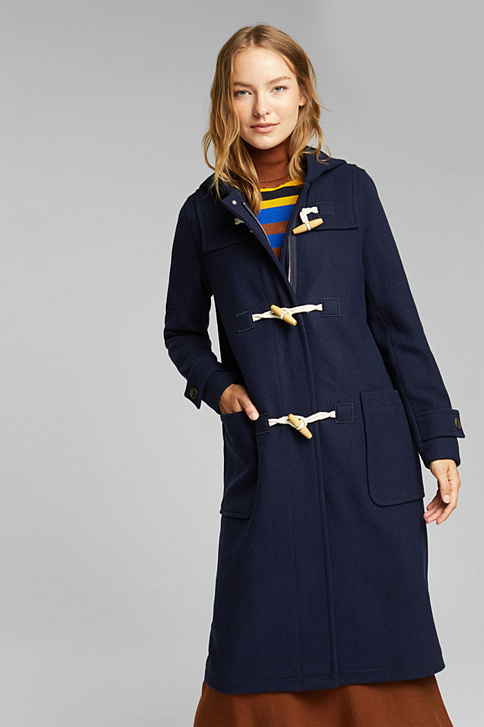 Recycled: Wool blend duffel coat, NAVY, detail image number 0