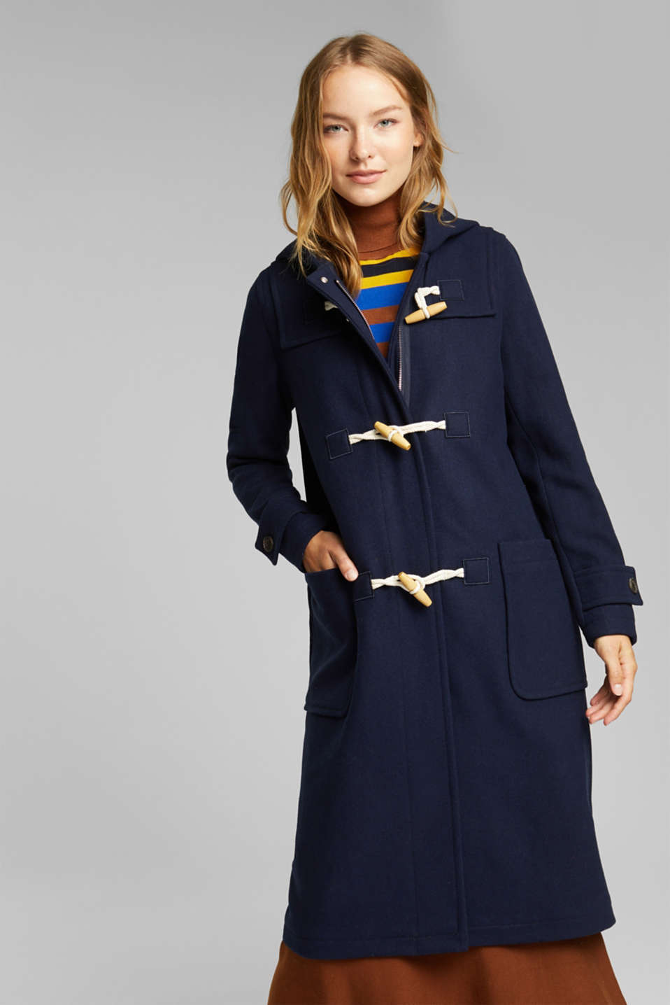 Esprit - Recycled: Wool blend duffel coat