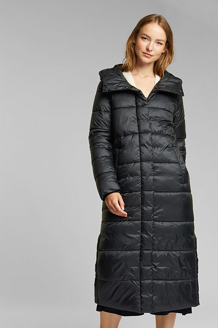 Recycled: quilted coat with a hood, BLACK, detail image number 0