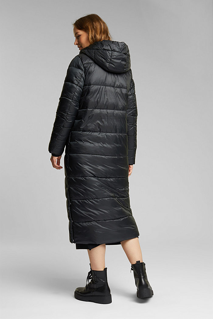 Recycled: quilted coat with a hood, BLACK, detail image number 3