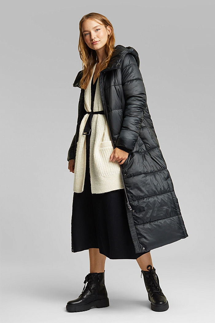 Recycled: quilted coat with a hood, BLACK, detail image number 1