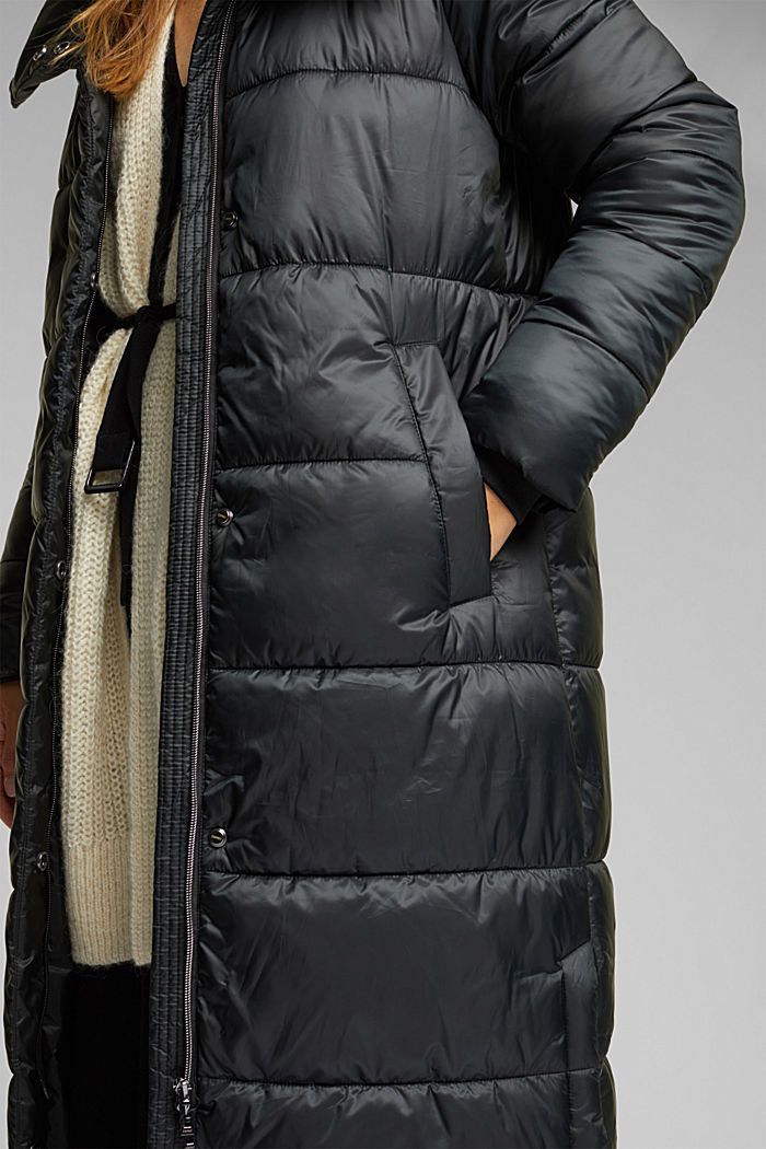 Recycled: quilted coat with a hood, BLACK, detail image number 2