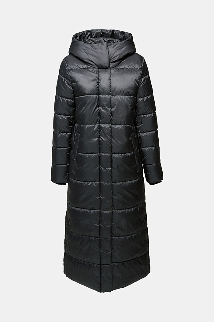Recycled: quilted coat with a hood, BLACK, detail image number 5