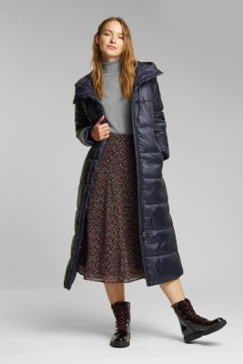 Recycled: quilted coat with a hood, NAVY, detail