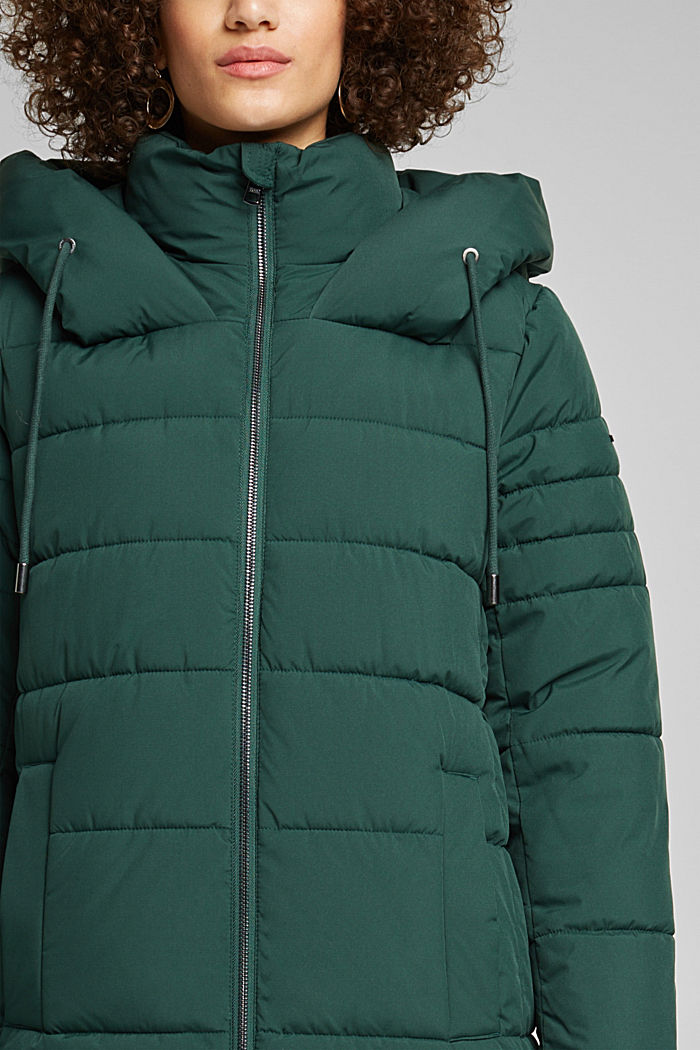 Recycled: quilted coat with a hood, DARK GREEN, detail image number 2