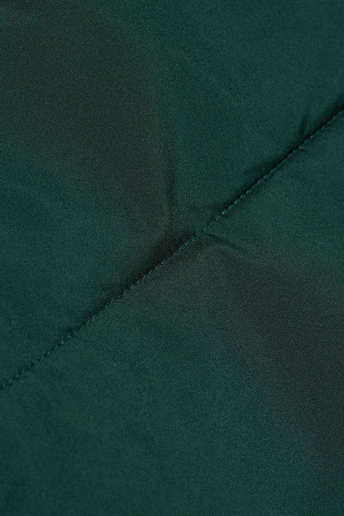 Recycled: quilted coat with a hood, DARK GREEN, detail image number 4