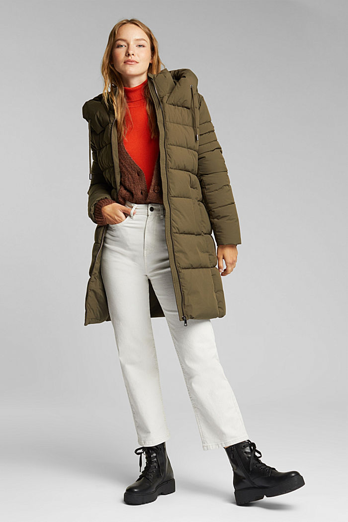 Recycled: quilted coat with a hood, KHAKI GREEN, detail image number 1