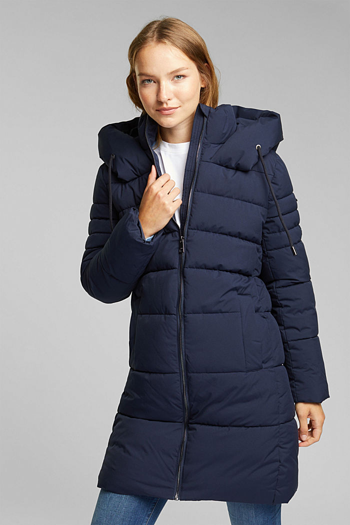Recycled: quilted coat with a hood, NAVY, detail image number 0
