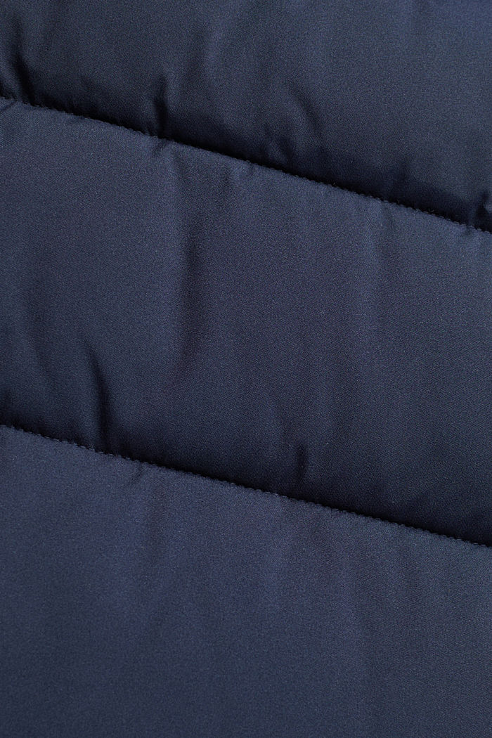 Recycled: quilted coat with a hood, NAVY, detail image number 4