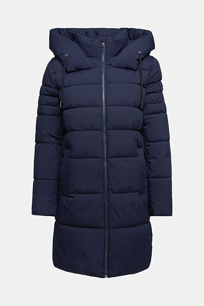 Recycled: quilted coat with a hood