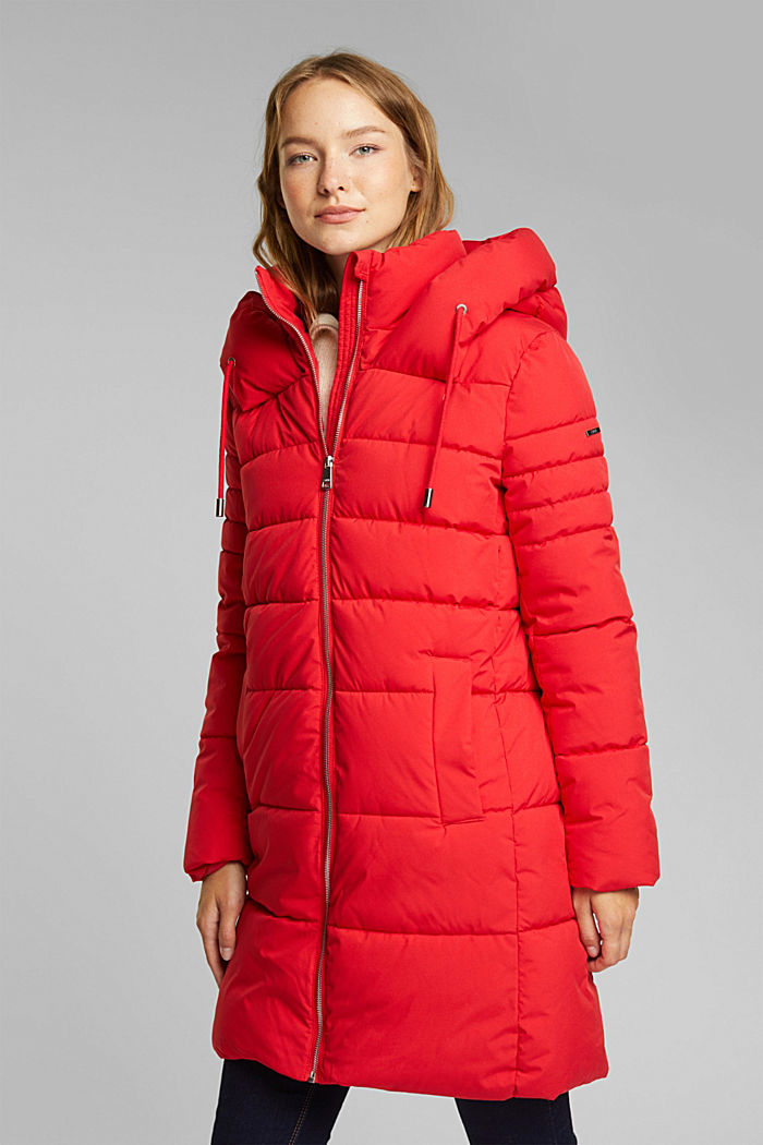 Recycled: quilted coat with a hood, RED, detail image number 0