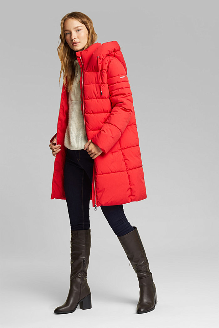 Recycled: quilted coat with a hood, RED, detail image number 1