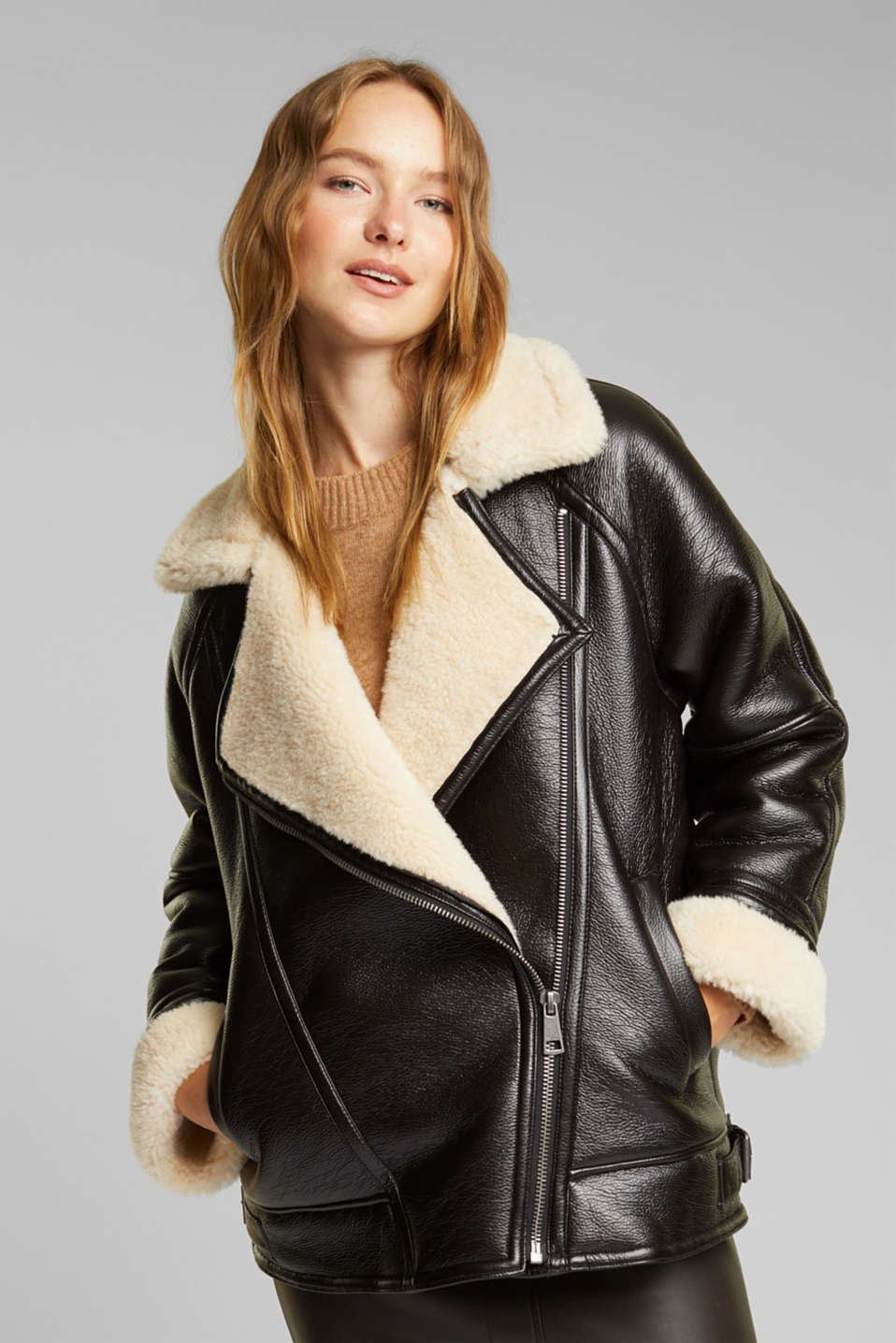 Esprit - Faux leather aviator jacket