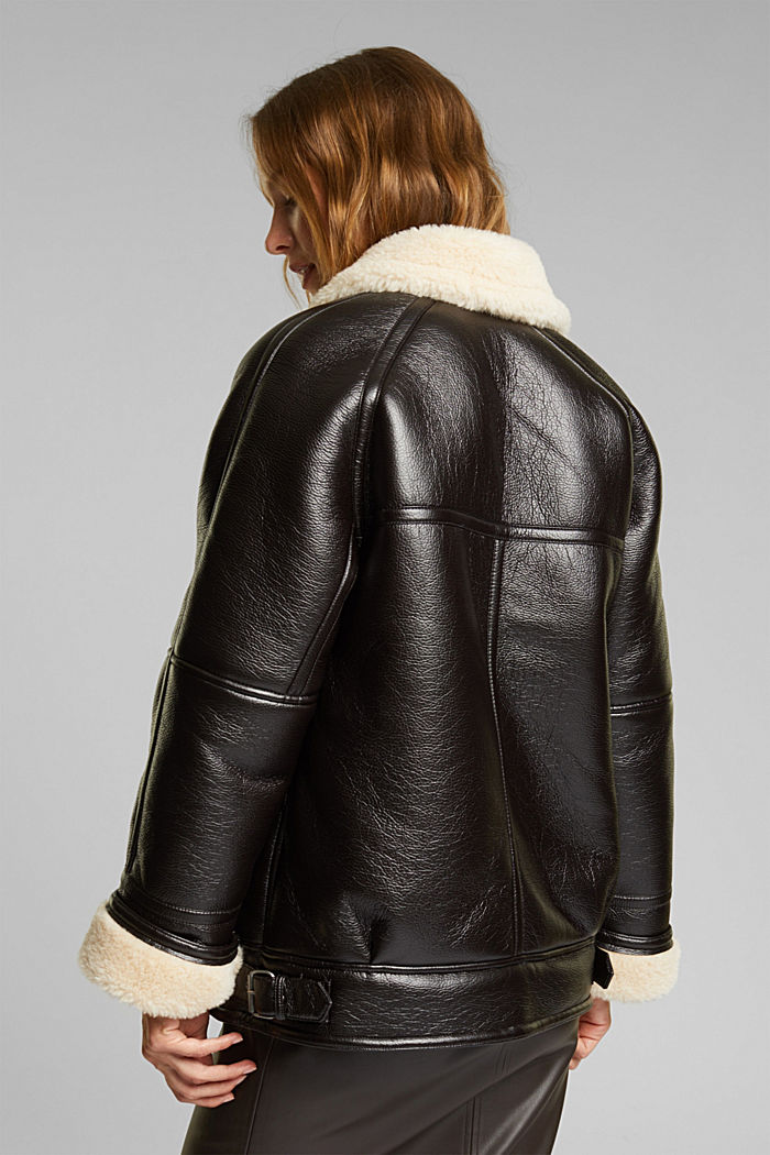 Faux leather aviator jacket, BROWN, detail image number 3