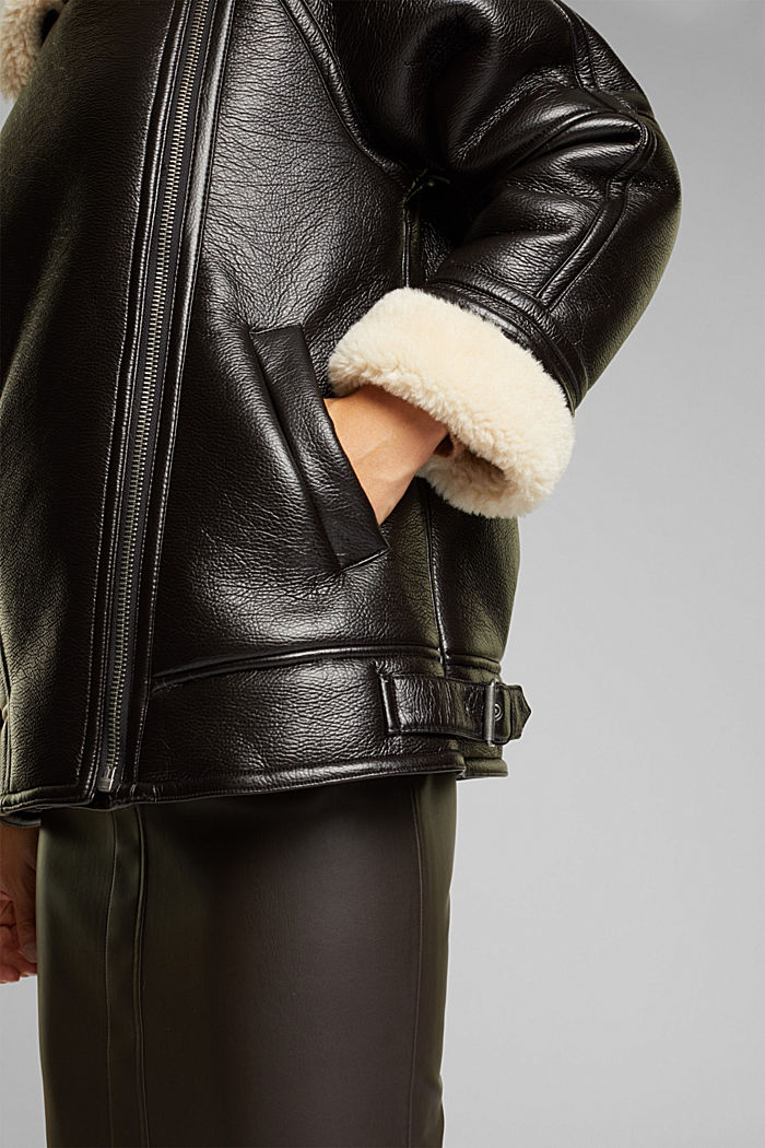 Faux leather aviator jacket, BROWN, detail image number 2