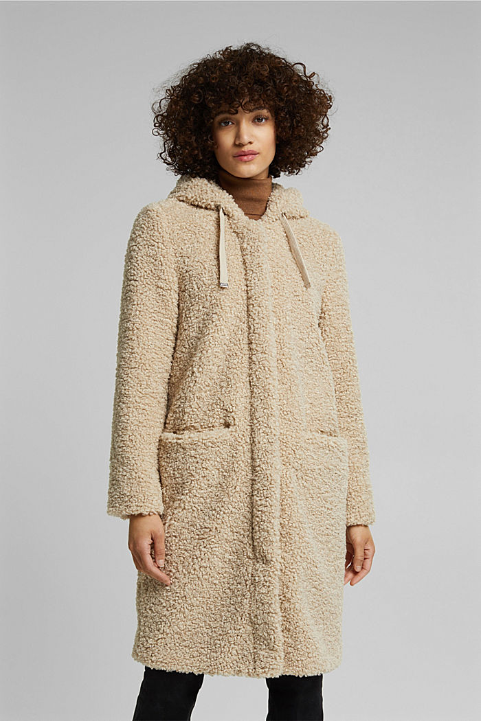 Recycled: teddy coat with a hood, CREAM BEIGE, detail image number 0