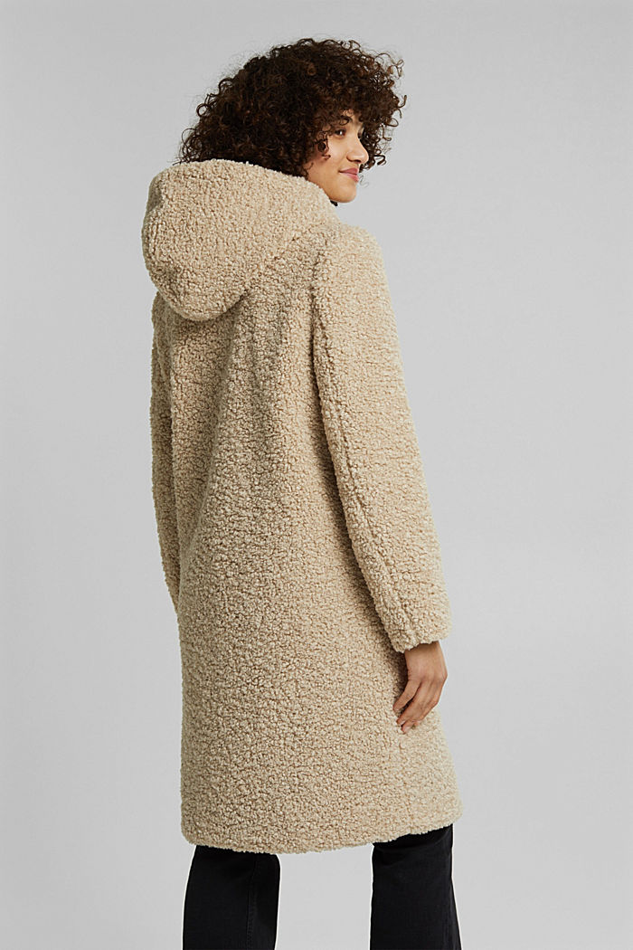 Recycled: teddy coat with a hood, CREAM BEIGE, detail image number 3