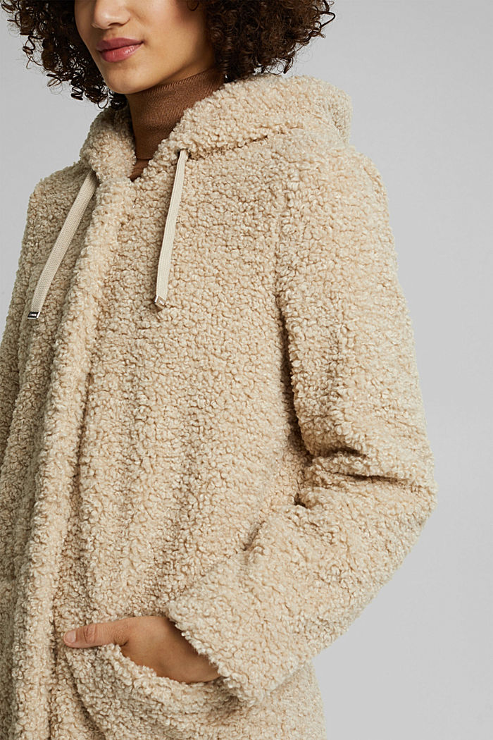 Recycled: teddy coat with a hood, CREAM BEIGE, detail image number 2