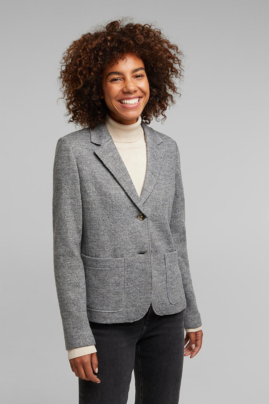 Wool blend: Blazer with unfinished edges
