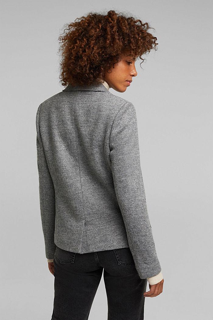 Wool blend: Blazer with unfinished edges, GUNMETAL, detail image number 2