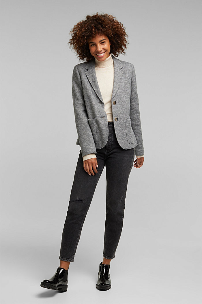 Wool blend: Blazer with unfinished edges, GUNMETAL, detail image number 1